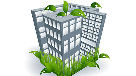 building with leaves illustratin green cleaning and building sustainability