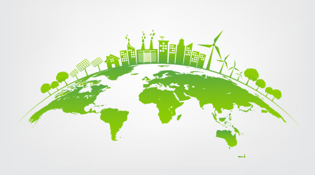 Ecology concept with green city on earth, World environment and sustainable development