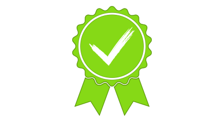 Green approved or certified medal icon