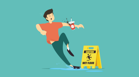 Wet floor caution sign. Man slips in water
