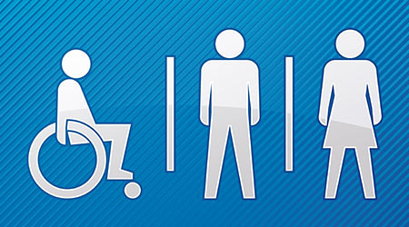 Disabled, male and female toilet sign with blue background