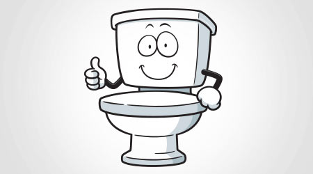 Cartoon toilet giving the thumbs up