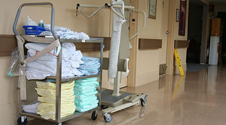 Laundry in hallway of hospital