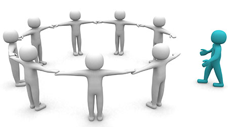 3D man joining a group of people in a circle over a white background