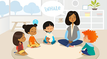 Smiling kindergarten teacher and children sitting in circle and meditating. Preschool activities and early childhood education concept