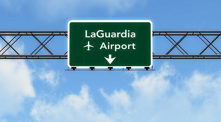 New York LaGuardia USA Airport Highway Sign