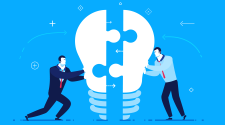 Two businessmen unite lamp of the puzzle