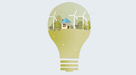 home the light bulb with of wind turbine, bike , solar cell ,house, and trees