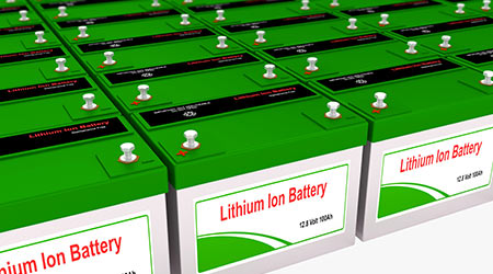 Rendering of several lithium Ion rechargeable batteries