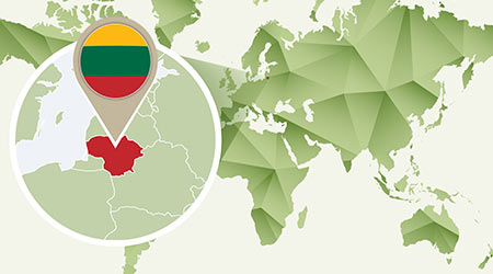 detailed map of Lithuania with flag