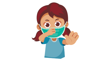 Cute little girl with protection medicine healthcare mask against flu virus and air pollution