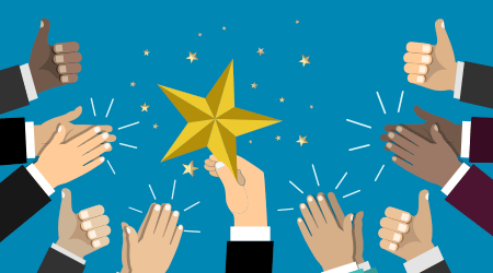 Businessman holding up a star. Business success, achieving the goal concept. Business teamwork concept