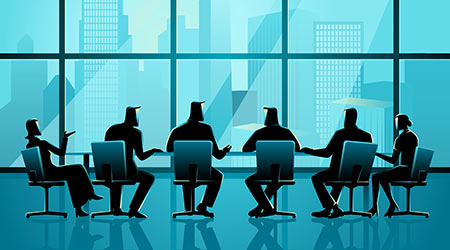 Business illustration of business people having a meeting in executive conference room with cityscape as the background