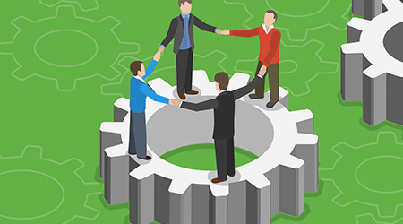 Team work flat isometric concept. Four men standing on gear holding each other hands