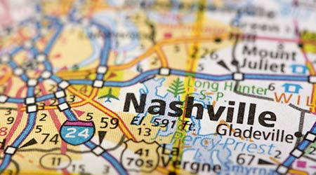 Closeup of Nashville, Tennessee on a road map of the United States
