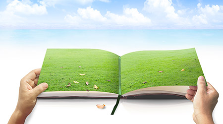 Human hands opening book of nature on the beach and blue sky background