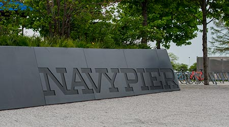 Navy Pier sign at a popular park in Chicago, Illinois