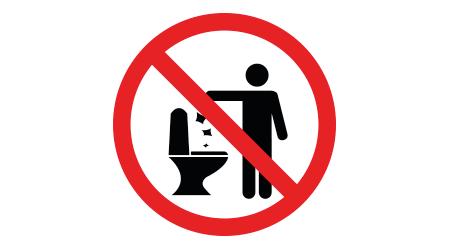 No Toilet Littering, do not flush Sign