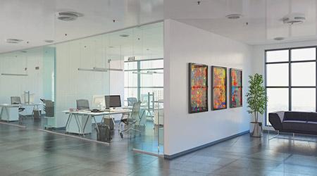 open plan office building