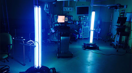 UV disinfecting technology placed inside a hospital room