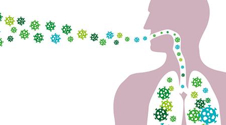 Man Inhales pathogen particles or spreads diseases