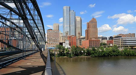 Pittsburgh skyline seen from Smithfield Street Bridge with Monongahela River