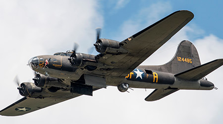 A World War II era B-17 Flying Fortress, the Memphis Belle, performs at the 2018 Vectren Dayton Airshow