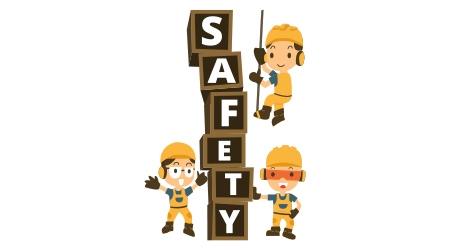 Character Constructor in a yellow construction helmet and Box word safety