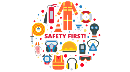 equipment and supplies vector illustration with isolated elements in circle on white background in modern style