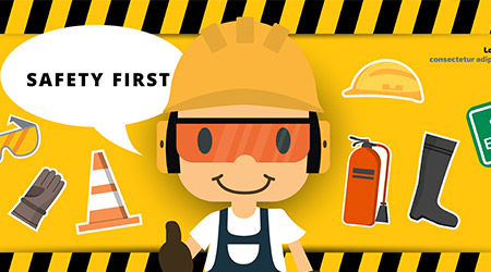 Construction worker repairman thumb up banner, safety first, health and safety