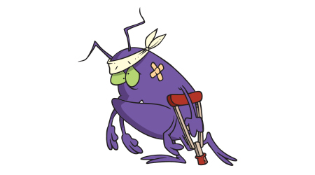 cartoon sick bug