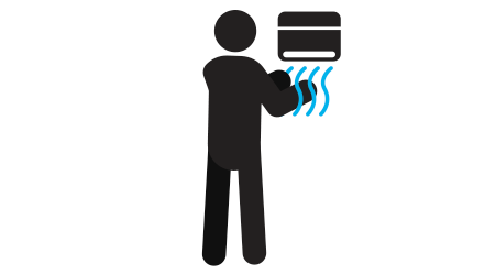 Man using hand dryer at public toilet silhouette icon