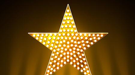 Award podium star gold, golden sign