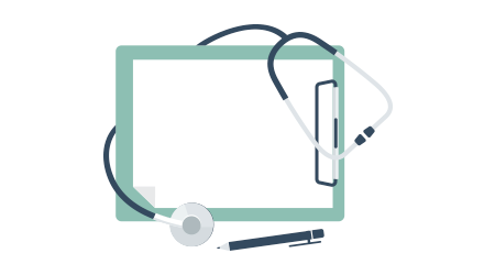 Medical stethoscope with blank paper in clipboard