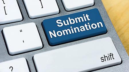 Written word Submit Nomination on blue keyboard button