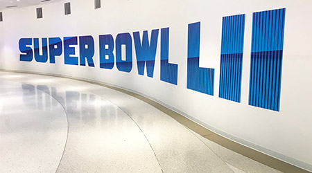 Super Bowl LII sign on the wall signifying the upcoming Super Bowl in Minneapolis