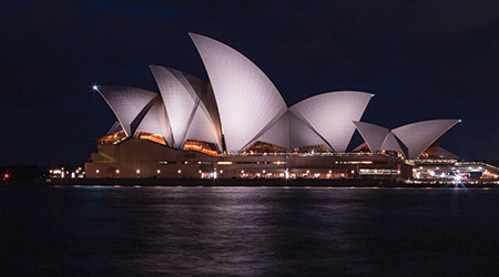 Magical view of the Sydney Opera house at night in Sydney Australia