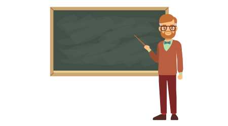 Teacher, professor standing in front of blank school blackboard