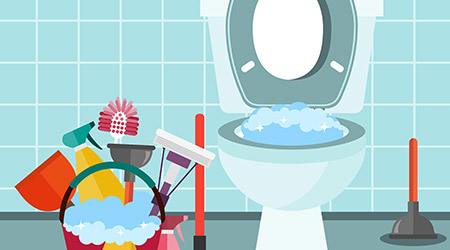 Bathroom interior with toilet bowl and cleaning equipment