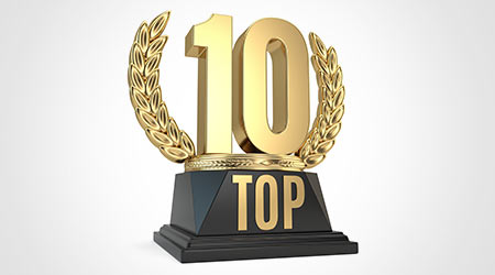 Top 10 ten award cup symbol isolated on white background