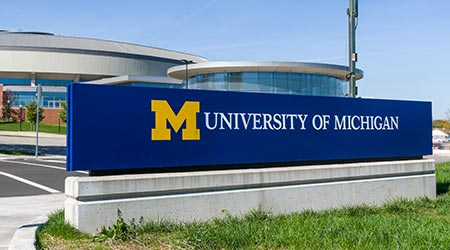 Entrance sign to the campus of the University of Michigan