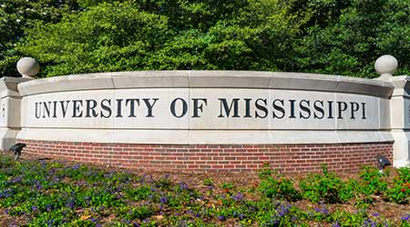 Entrance sign and logo to the campus of the University of Mississippi