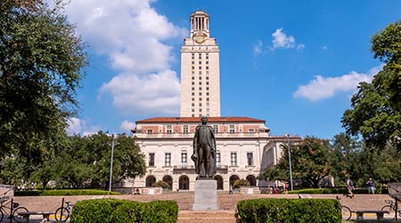University of Texas (UT) against blue sky in Austin, Texas