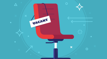 Composition with office chair and a sign vacant. Business hiring and recruiting concept