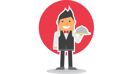 man waiter stand with hold food cover