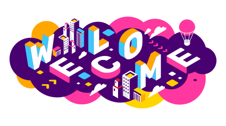 3d welcome word lettering typography on colorful background with city images