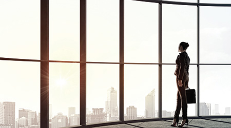 business woman with briefcase looking out over a city skyline