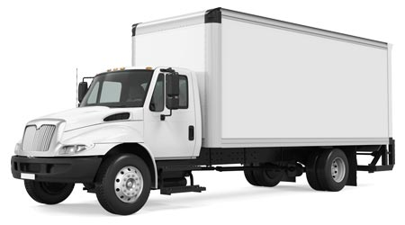 A large, white commercial truck