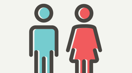 Male and female icon thin line for web and mobile, modern minimalistic flat design