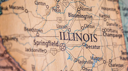 Closeup Selective Focus Of Illinois State On A Geographical And Political State Map Of The USA